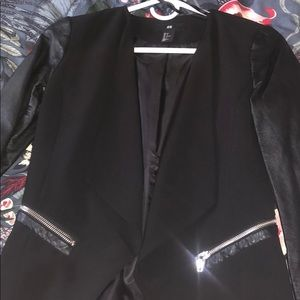 H&M blazer with leather sleeves